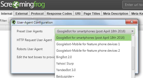Выбор User-Agent для сканирования мобильной версии.