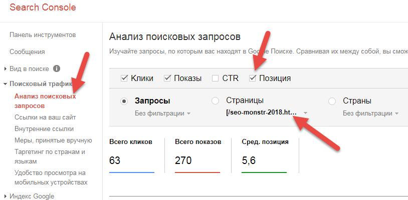 Данные поисковой консоли Google