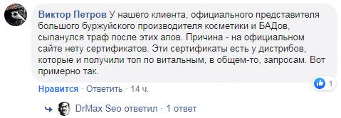 Комментарий поста про YMYL в фейсбуке