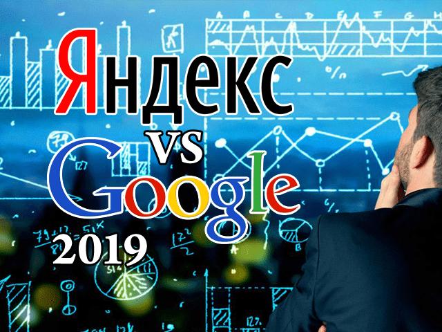 Статистика использования Яндекса и Google в 2019 году.